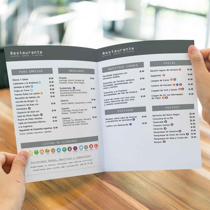 diseño carta restaurante castellon